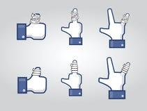 Pulgares sociales de la red con yesos Imagenes de archivo