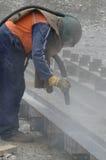 Pulir con chorro de arena vigas de I Imagen de archivo libre de regalías