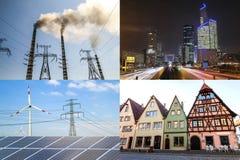Pulisca contro energia sporca Pannelli solari e generatori eolici contro il fu Fotografie Stock