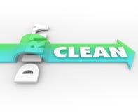 Pulisca contro la freccia sporca sopra salute della cassaforte di soggiorno di vittorie di pulizia di parola Fotografia Stock