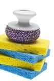 Pulisca e freghi il bordo con una spugna di pulizia di spazzola Fotografie Stock