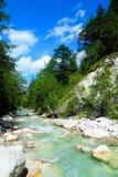 Pulisca il fiume nelle alpi austriache Immagini Stock Libere da Diritti