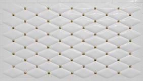 Pulisca il fondo bianco semplice della parete delle mattonelle con dettagliare dorato Immagini Stock