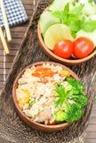 Pulisca l'alimento, il riso fritto con la verdura, la carne e l'uovo immagini stock
