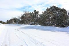 Pulisca la strada di inverno Fotografie Stock Libere da Diritti