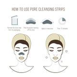 Pulisce la striscia dei pori Belle giovani donne con la maschera di pulizia Prima e dopo la procedura Trattamenti facciali Fotografia Stock