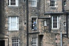Pulitore di finestra sul lavoro Immagini Stock Libere da Diritti