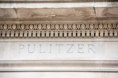 Pulitzer graduate school of journalism sign Royalty Free Stock Images