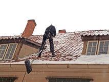 Pulizia del tetto immagine stock