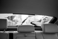 Pulizia dell'automobile della finestra sul cortile dalla neve Immagine Stock Libera da Diritti