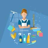 Pulizia della casa della domestica di servizio di pulizia Fotografie Stock