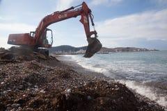 Pulizia della spiaggia Fotografie Stock Libere da Diritti