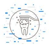 Pulizia dentaria del dente che lava l'illustrazione lineare di vettore Immagine Stock