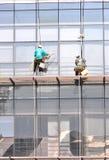 Pulizia di finestre della costruzione Fotografie Stock