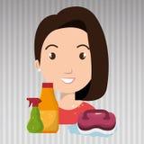 pulizia di spazzola della radura del fumetto della donna royalty illustrazione gratis