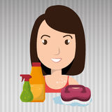 pulizia di spazzola della radura del fumetto della donna illustrazione di stock
