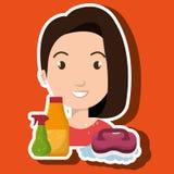 pulizia di spazzola della radura del fumetto della donna illustrazione vettoriale