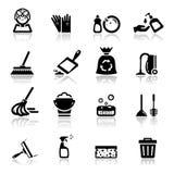 Pulizia fissata icone Immagini Stock Libere da Diritti
