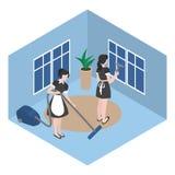 Pulizia nella camera di albergo Domestica isometrica in uniforme Il personale della società di pulizia funziona in ufficio Lavoro royalty illustrazione gratis