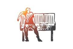 Pulizia, stanca, casa, lavoro, concetto dell'uomo Vettore isolato disegnato a mano illustrazione vettoriale