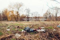 Pulizia volontaria della donna sui rifiuti in parco Di raccolto immondizia su all'aperto Concetto dell'ambiente e di ecologia fotografia stock