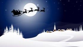 Pulka med Santa Claus på vinternatten stock illustrationer