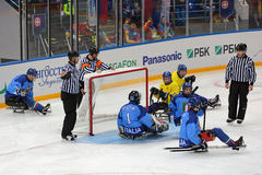 Pulkahockey Arkivfoto
