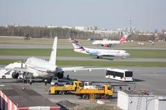 Pulkovo airport life. Airport Saint-Petersburg Russia Stock Image