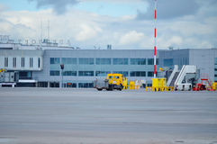 Pulkovo International airport, service cars of the passenger airplanes in St Petersburg, Russia Stock Photography