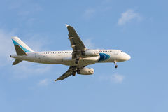 Pulkovo, REGIÓN de St Petersburg, RUSIA -26 puede 2017: Airbus A320 Fotos de archivo libres de regalías
