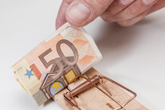 Pull the Euro banknote Royalty Free Stock Photos