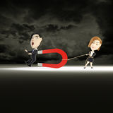 Pull men. 3d rendering women's men pulled by a magnet Stock Images