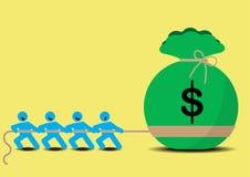 Pull Money Business Tug of War. NTeamwork for richness Stock Photo