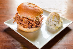 Pull pork burger with mash potatoes Royalty Free Stock Photography