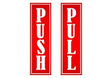 Pull and push design sticker information to open stock illustration