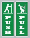 Pull push door sign.Open door board vector stock illustration