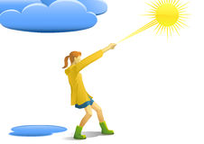 Pull the sun. Illustration of a girl pulling the sun Stock Image