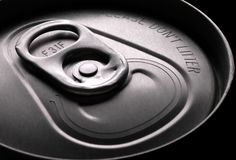 Pull Tab. Closeup of a pop can pull tab stock image