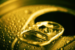 Pull tab of tin with condensation Royalty Free Stock Photo