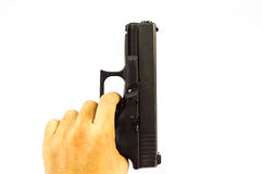 The pull a trigger gun isolate bakground. Pull a trigger gun isolate bakground royalty free stock photography