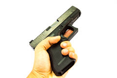 The pull a trigger gun isolate bakground. Pull a trigger gun isolate bakground Stock Image
