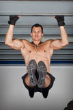 Pull up chin up crossfit fitness training at a steel girder Stock Image