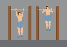Pull Up Exercises Using Outdoor Chin-Up Bar Vector Cartoon. Cartoon half naked man doing pull up exercise using outdoor chin-up bar. Vector illustration isolated stock illustration