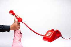 Hand holding telephone royalty free stock photos