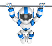The pull up to blue robot, A chin up Royalty Free Stock Photos
