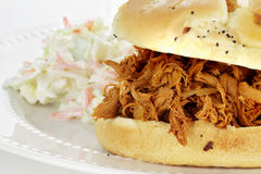Pulled Chicken Sandwich with Coleslaw Stock Photography