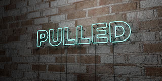 PULLED - Glowing Neon Sign on stonework wall - 3D rendered royalty free stock illustration Stock Photo
