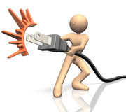 He pulled an outlet for energy saving. Stock Images