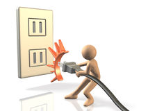 He pulled an outlet for energy saving. Royalty Free Stock Photography