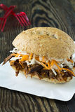 Pulled pork barbecue sandwich with cole slaw Royalty Free Stock Images